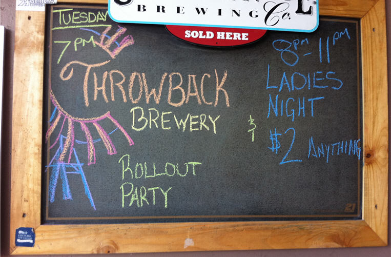 Throwback Brewery Logo on Barley Pub Chalkboard