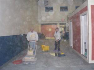Sanding Throwback Brewery Floor
