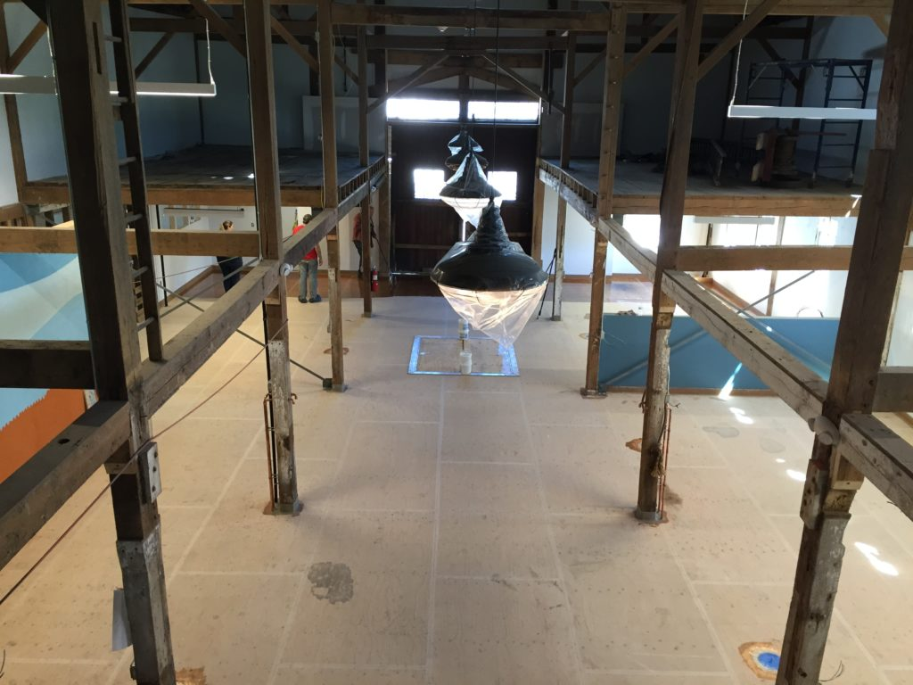 start of concrete floor in the brewery from the mezzanine