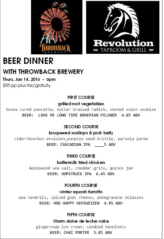 Beer Dinner Throwback Menu Final